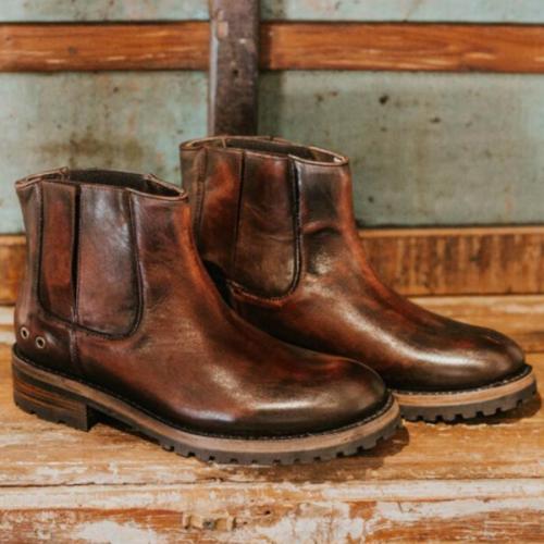 Autumn and Winter Square Heel Low Heel Low Top Trendy Men's Boots