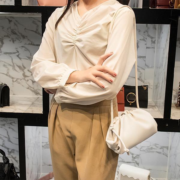 Pleated Soft Leather Crossbody Bag