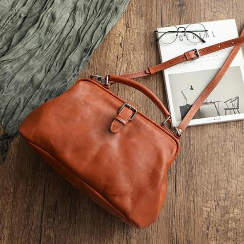 Hand-Rubbed Color Cowhide High-Grade Leather Vintage Handbag