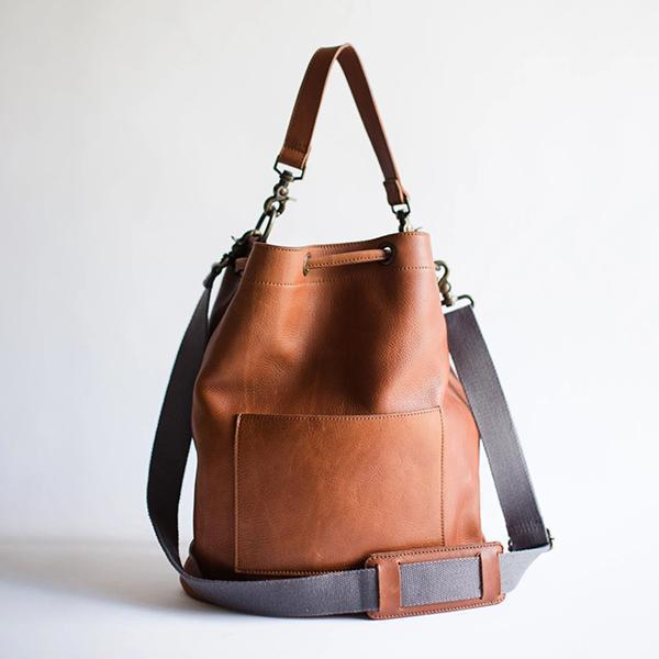 Full Grain Leather Bucket Bag