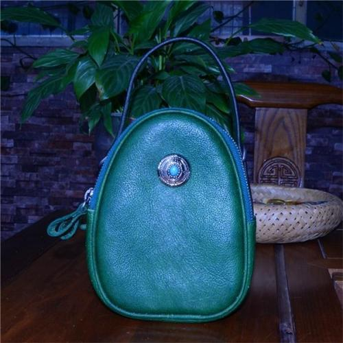 Handmade Vegetable Tanned Leather Oval Portable Messenger Bag