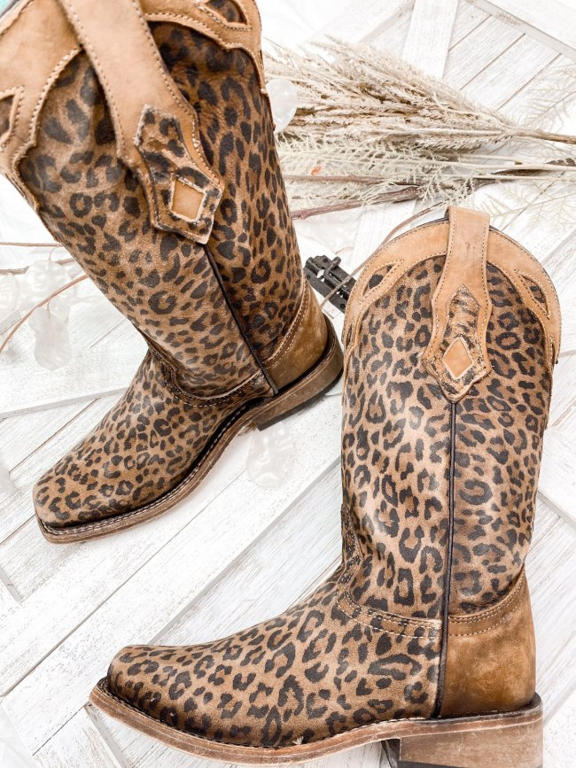 Women's Leopard Print Square Toe Western Boot