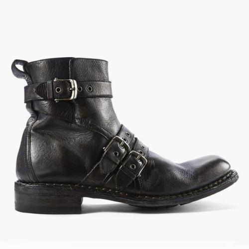 Men's Low Heel Belt Buckle Zipper Ankle Boots
