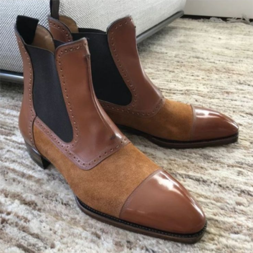 Pointed Toe Low Heel PU Leather Chelsea Boots