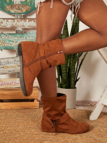 Casual Zipper Falt Boots
