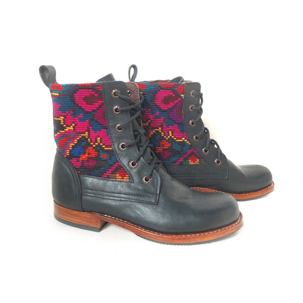Retro Print Stitching Boots
