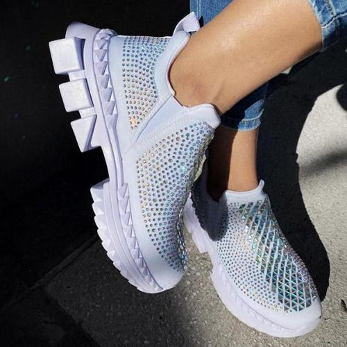 Stylish Sequins Stud Slip On Sneakers