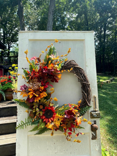 Autumn fall wreath with sunflowers-Showstopper!