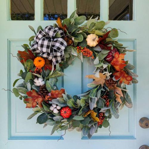 Fall Wreath With Buffalo Check Bow