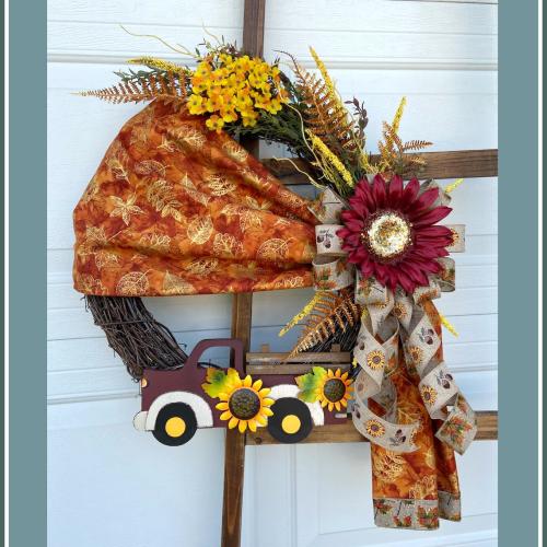 Fall Vintage Truck Fabric Wreath-Rustic Grapevine Home Decor