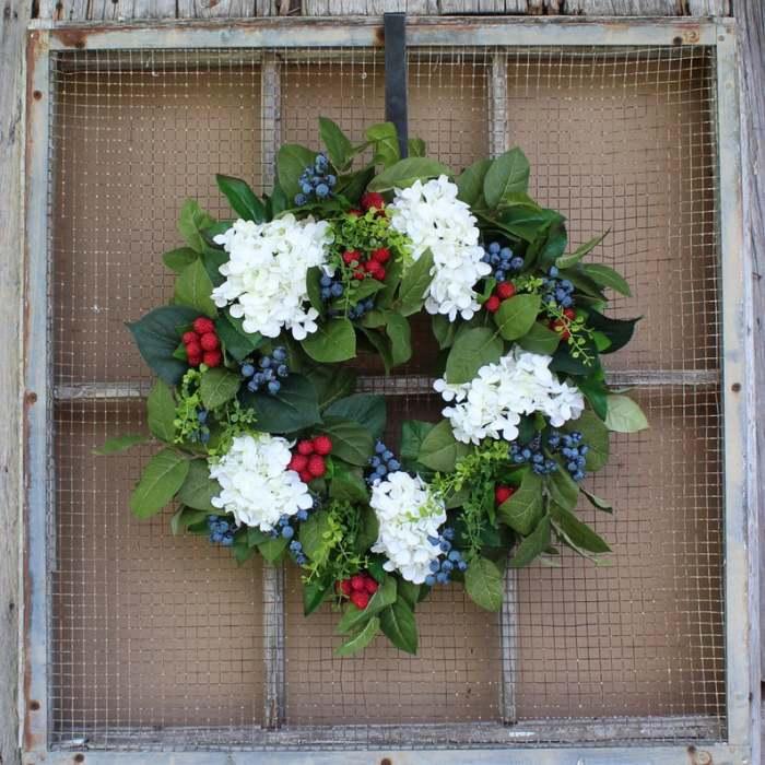Raspberry blueberry summer wreath-The flowerpot door wreath is unique!