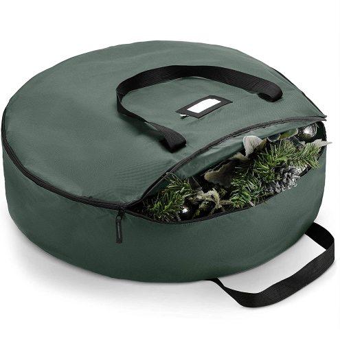 Waterproof Artificial Wreath Storage Bag 36  x 36  x 8  Green