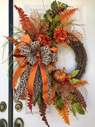 Fall Cheetah Glam Wreath-Warm and elegant home decoration