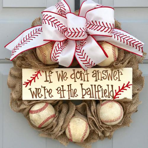 Baseball Front Door Wreath