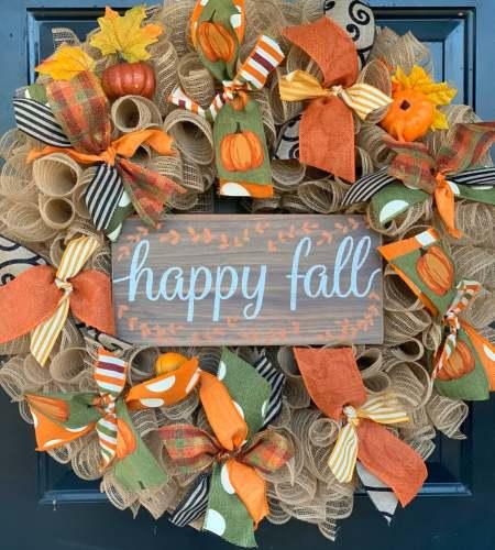Welcome Fall Pumpkins Burlap Wreath