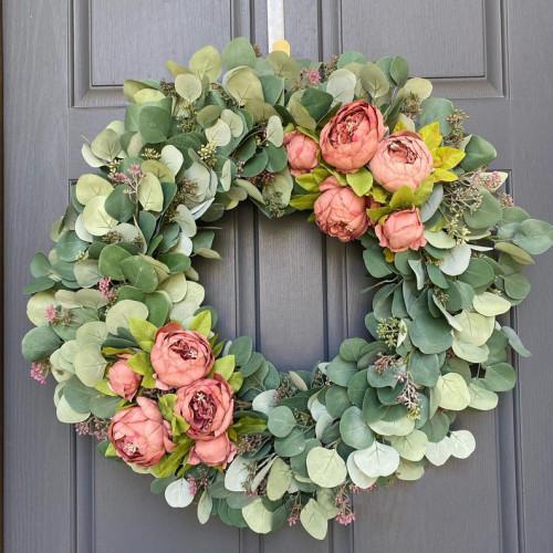 Modern farmhouse eucalyptus wreath