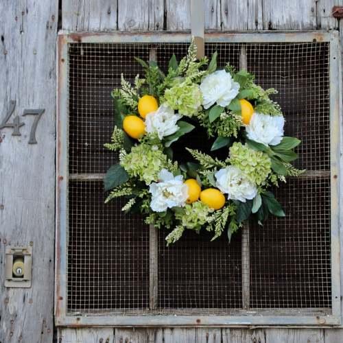 Green hydrangea lemon wreath-The flowerpot door wreath is unique!