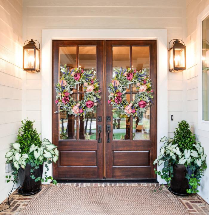 Summer peony wreath for front door - Lambs ear farmhouse wreath