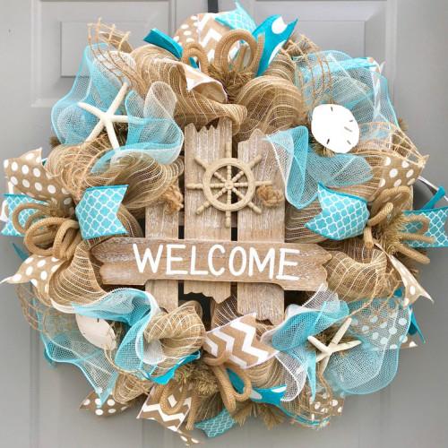 Welcome Beach Seashell Wreath