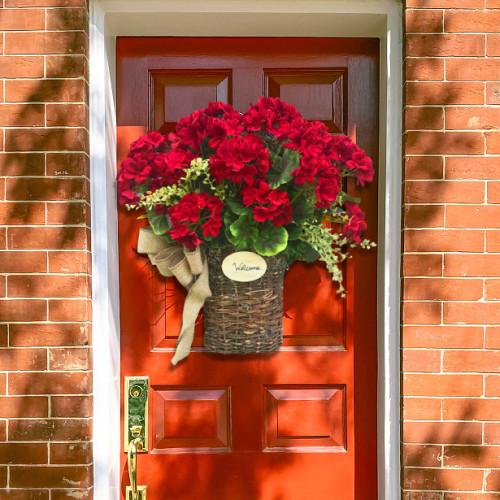 Welcome Red Geranium Basket