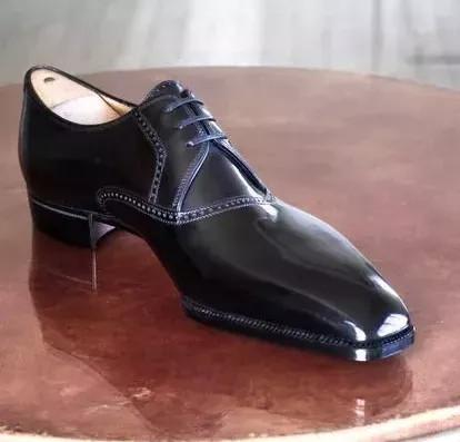Classic Men's Pure Black Thin Waist Oxford Shoes