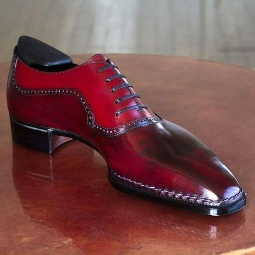 Premium Red Classic Oxford Leather Shoes