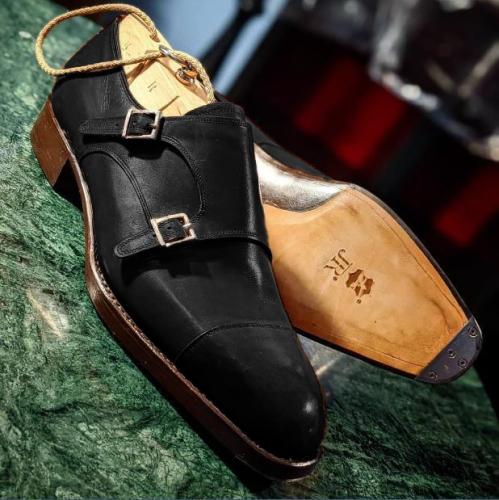 Leather Dual Buckle Slipon Monk Shoes for Men
