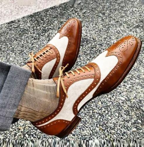 Handmade Beige Brown Spectator Dress Luxury Wing Tip Brogue Shoes