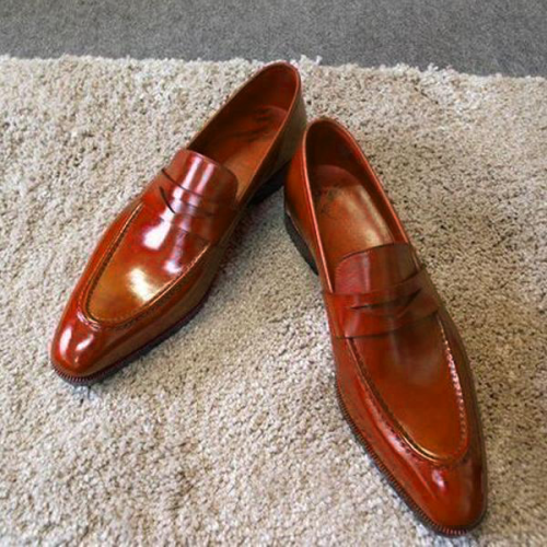 Glossy Red Men's Leather Shoes