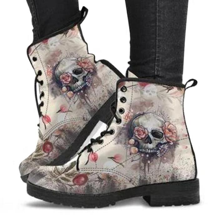 PU Fashion Large Size Halloween Skull Floral Print Cartoon Pattern Martin Boots