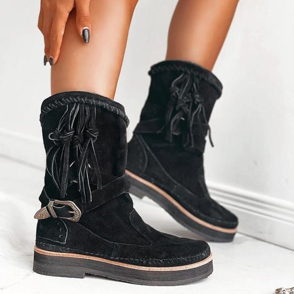 Fashion Lace Elk Leather Round Toe Snow Boots