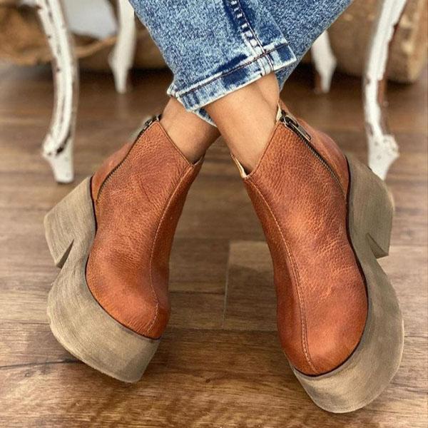 Vintage Faux Leather Zipper Platform Boots
