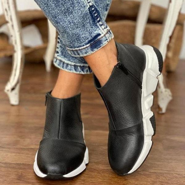 Pairmore Stylish Faux Leather Zipper Rubber Sole Boots