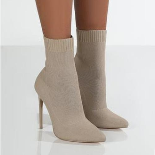Knitted Stretch Point Toe High-Heeled Booties