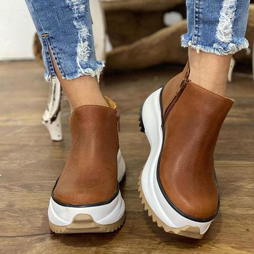 Plain Round Toe Platform Boots
