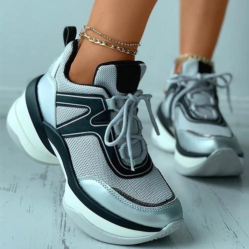 Fashion Lace-Up Colorblock Knit Platform Sneakers