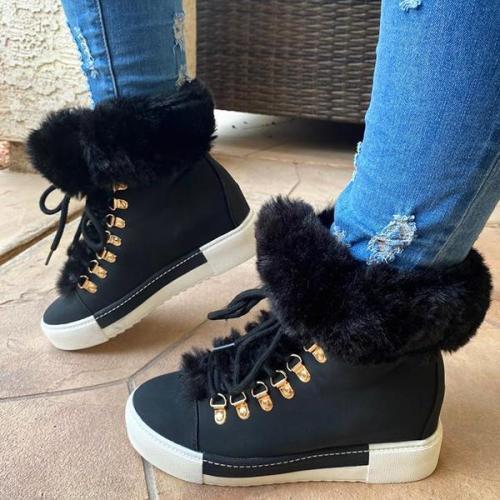 Warm Fur Lace-Up Boots