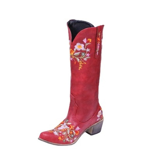 Pointed Toe Embroidered Fashionable Boots
