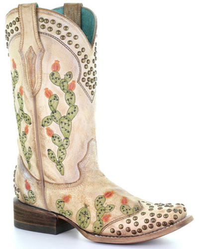 Embroidered Cactus Pointed Rivet Boots