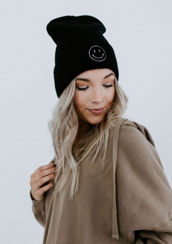 Smiley Embroidered Beanie