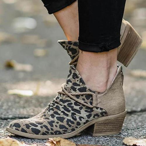 Leopard Chunky Heel Canvas Boots