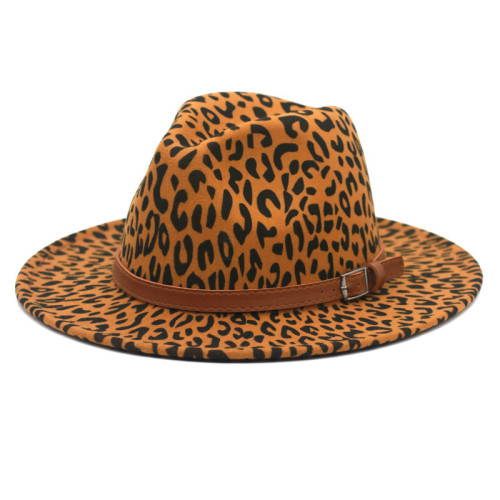 Wide brim leopard hat with buckle band