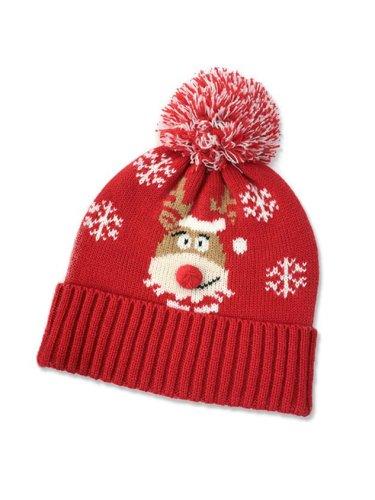 Christmas Elk Snowflake Wool Ball Knitted Hat
