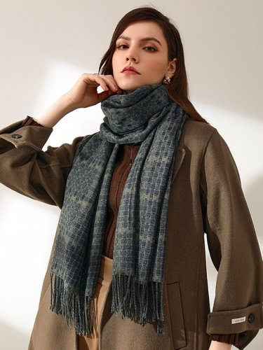 Cashmere Casual Plaid Fringed Scarf