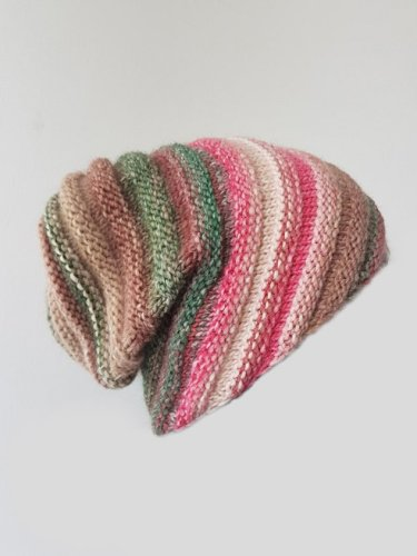 Warm Knitted Hat with Rainbow Stripes