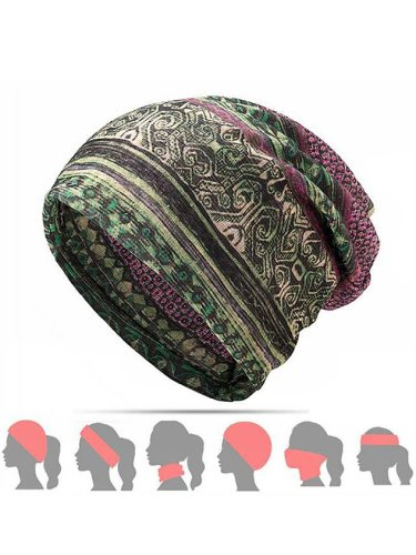 Womens Ethnic Cotton Hats Vintage Print Stripe Outdoor Scarves