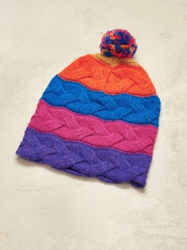 Mixed Color Striped Woven Twist Hat