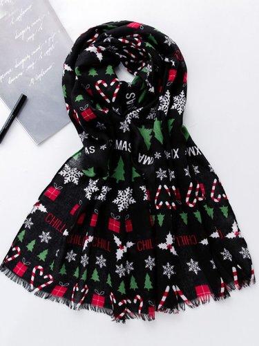 Christmas Tree Snowflake Warm Scarf