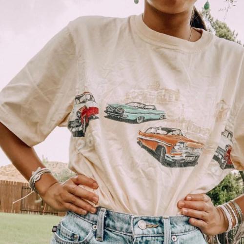 Casual Daily Car Printed Short-Sleeved T-Shirt