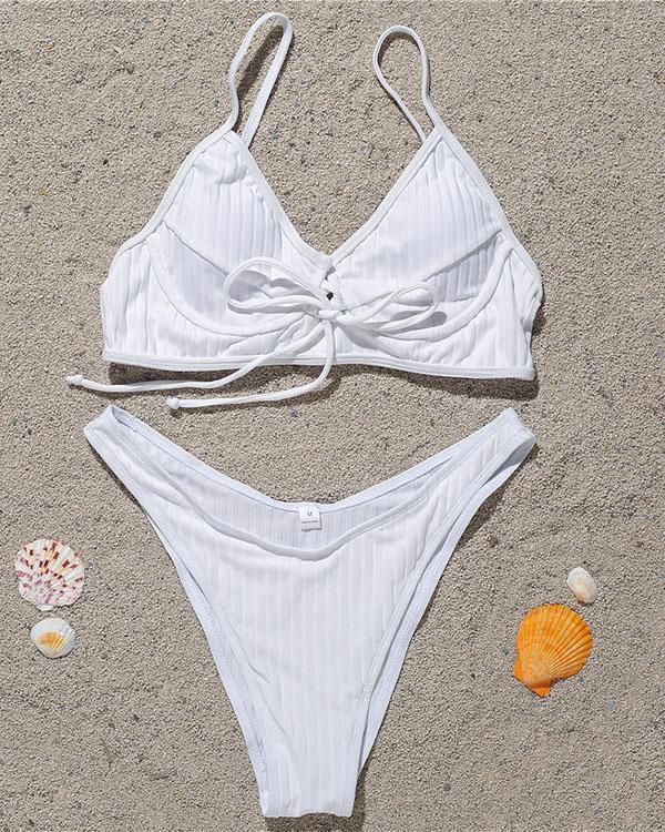 Solid Spaghetti Strap Tied Detail Bikini Set